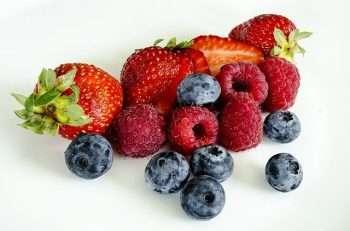 strawberries, blueberries, and raspberries