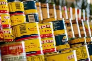 canned food on a shelf