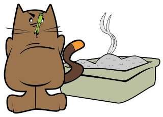 cartoon of cat with clothespin on his nose