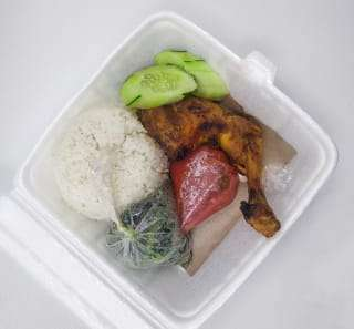 food in a styrofoam container
