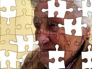 puzzle of an old woman with missing pieces