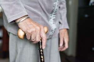 woman with cane