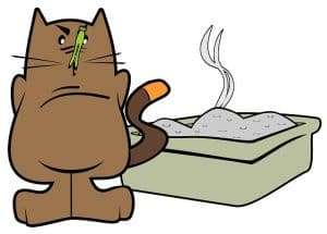 cartoon image of a cat and a litter box