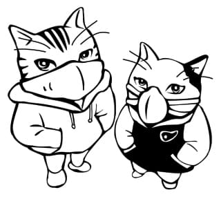 drawing of two cats wearing face masks