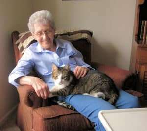 Senior lady and her cat