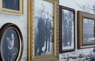 old photos hanging on a wall