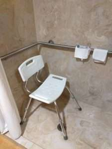 shower chair in shower