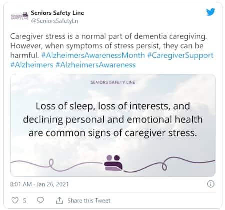 Tweet on caregiver stress