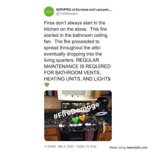 tweet about a bathroom fan fire