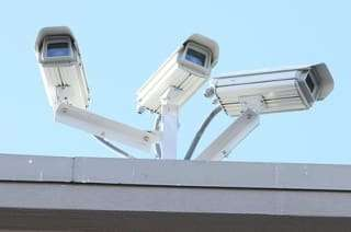 video cameras on a roof